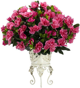 Asstd National Brand Nearly Natural Azalea Faux-Silk Plant with Metal Planter