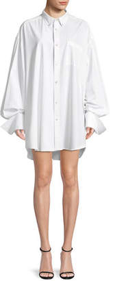 Helmut Lang Shayne Oliver Beaded-Logo Button-Front Oversized Shirt