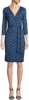 Diane von Furstenberg Julian 3/4-Sleeve Leaf-Print Wrap Dress
