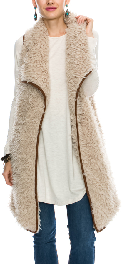 Beige Faux Fur Long Open Vest