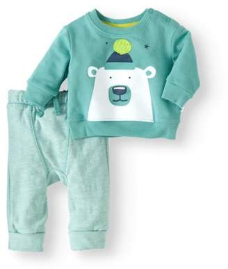 Cherokee Newborn Baby Boy Bear Sweatshirt & Harem Pant 2pc Outfit Set