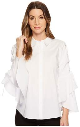 Vince Camuto Lace-Up Ruffle Sleeve Button Down Shirt Women's Clothing