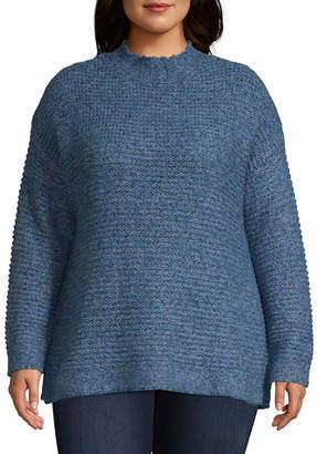ST. JOHN'S BAY Tweed Mock Neck Sweater - Plus
