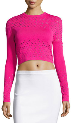Thierry Mugler Perforated Knit Cropped Sweater, Cheeky Pink $1,200 thestylecure.com