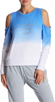 Peace Love World Cold Shoulder Comfy Fleece Sweater