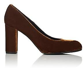 Barneys New York Women's Chunky-Heel Velvet Pumps-Camel