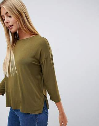Asos Design DESIGN top with 3/4 sleeves in drapey fabric in khaki