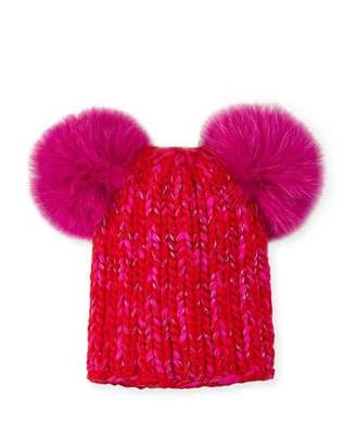Eugenia Kim Mimi Metallic Knit Beanie Hat w/ Fur Pompoms