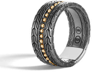 John Hardy Men's Classic Chain 18k Stud Ring, Size 10