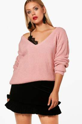 boohoo Plus V Neck Slouchy Jumper