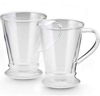 Bonjour Coffee Insulated Borosilicate Glass Coffee Mugs, 2-Piece Set, 10-Ounces Each
