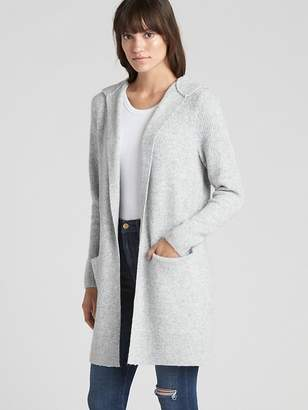 Gap Textured Open-Front Hooded Cardigan Sweater