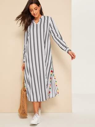 7008d4b82d Shein V-cut Split Side Tassel Detail Striped Tunic Dress