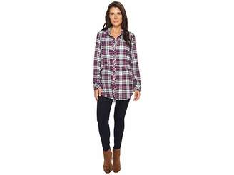 Mod-o-doc Thistle Long Sleeve Flannel Shirt with Front Pockets Women's Clothing
