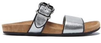 Prada Double Strap Metallic Leather Slides - Womens - Silver