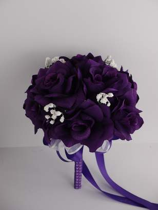 "Isabella Collection Angel 8"" Bouquet - Purple Open Rose Bouquet with Baby Breath Accents"