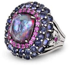 Stephen Dweck Multi-Stone Ring w/ Iolite/Garnet/Quartz, Size 7