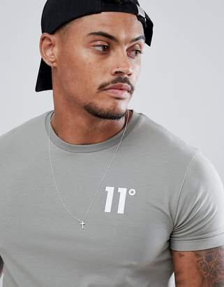 11 Degrees muscle fit t-shirt in grey with logo
