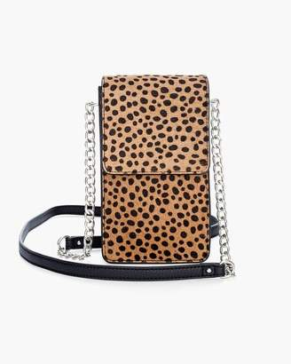 Chico's Chicos Cheetah-Print Haircalf Crossbody Cell Phone Case