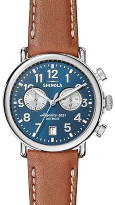 Shinola 41mm Runwell Chronograph Watch, Midnight Blue/Tan $750 thestylecure.com