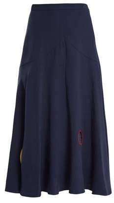 Roksanda Carson Circle Reverse Applique Silk Skirt - Womens - Navy