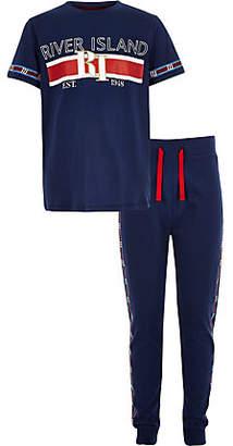 River Island Boys navy RI branded tape pajama set