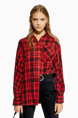 Topshop Womens Check Oversized Shirt - Red