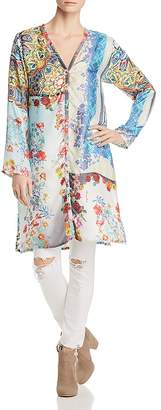 Johnny Was Collection Witteau Patchwork-Print Silk Cardigan