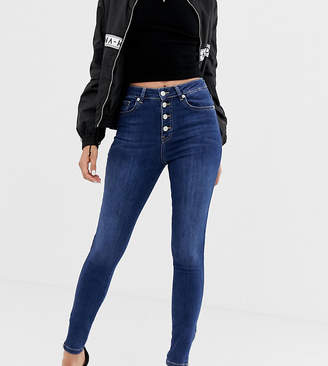 NA-KD Na Kd skinny jeans with zip ankle in mid blue