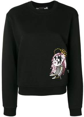Love Moschino embroidered long-sleeve sweater