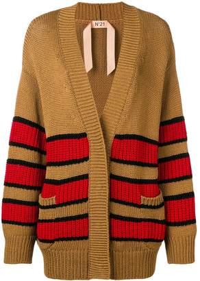 No.21 oversized striped cardigan