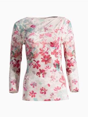 St. John Multi Color Brush Stroke Floral Print T-Shirt