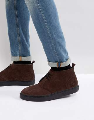 Fred Perry Hawley Suede Mid Shoes In Dark Brown