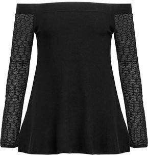 L'Agence Off-The-Shoulder Crochet-Paneled Jersey Top