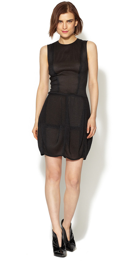 Vera Wang Crinkled Sleeveless Blouson Dress