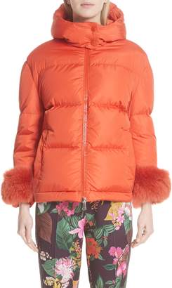 Moncler Effraie Hooded Down Coat with Removable Genuine Fox Fur Cuffs