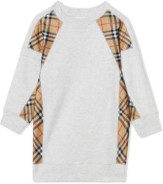 Burberry vintage check panel cotton sweater dress