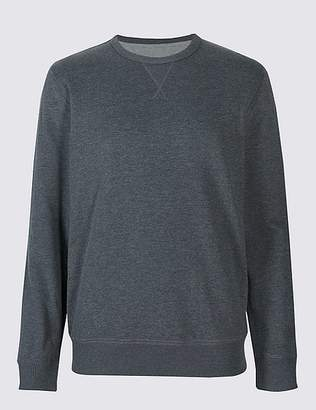 Marks and Spencer Cotton Rich Crew Neck Regular Fit Sweat