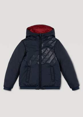 Emporio Armani Jacket With Hood And All-Over Logo