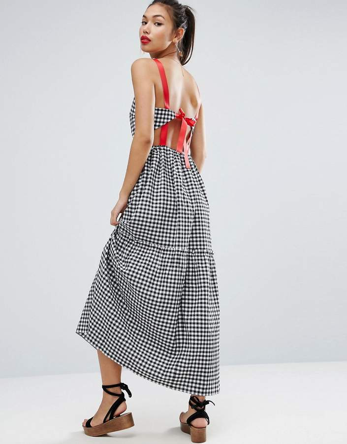 AsosASOS Tiered Gingham Maxi Dress with Contrast Tie Back