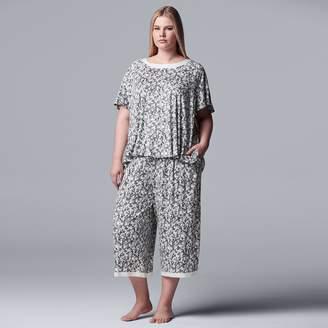 Vera Wang Plus Size Simply Vera Top & Capri Pajama Set