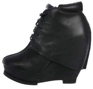 Max Studio Leather Lace-Up Wedge Booties