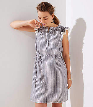 LOFT Striped Flutter Shirtdress