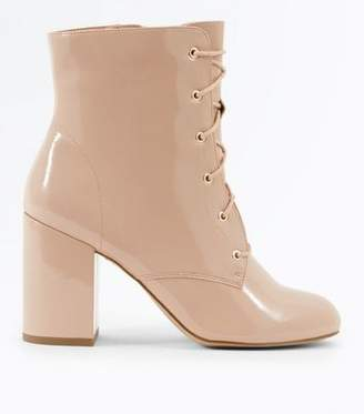 New Look Nude Patent Lace Up Heeled Boots