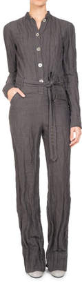 Pascal Millet Long-Sleeve Belted Button-Front Jumpsuit