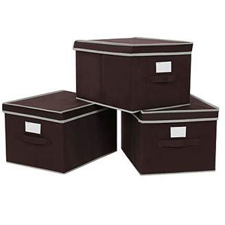 SONGMICS Large Storage Bins Cube Box with lids and Dual Non-woven Handles for Home Closet Bedroom Drawers Organizers Set of 3