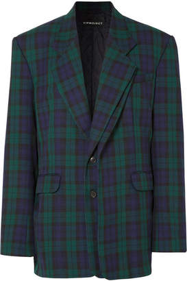 Y/Project Oversized Plaid Twill Blazer - Emerald