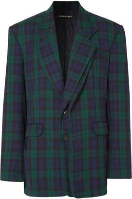 Y/Project Oversized Plaid Twill Blazer - Emerald