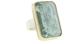Jamie Joseph Inverted Emerald Cut Aquamarine Ring