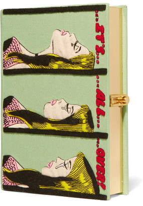 Olympia Le-Tan It's All Over Appliquéd Cotton-canvas Clutch - Green